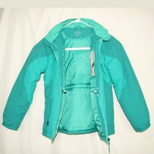 L.L. Bean hooded coat size XL 18 teal